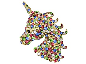 Gold Tone Multi-Color Crystal Unicorn Brooch