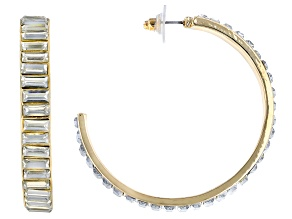 Gold Tone White Crystal Hoop Earrings
