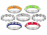 White Crystal, Multi-Color Enamel Silver Tone Stackable Ring Set of 7