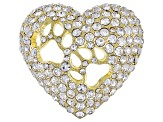 Gold Tone White Crystal Dog Paw Heart Shape Brooch
