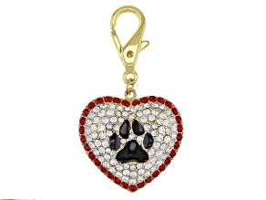 Gold Tone Multi-color Dog Paw Collar Charm