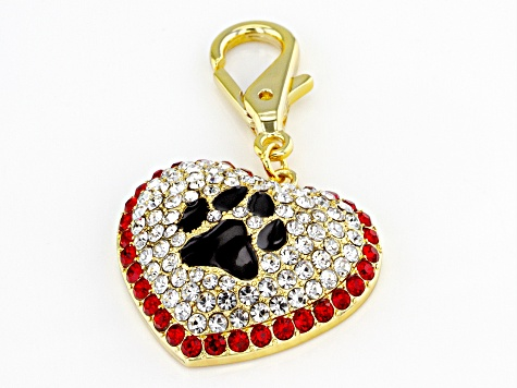 Gold Tone Multi-color Dog Paw Collar Charm