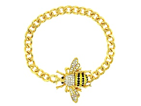 Gold Tone Multi-Color Crystal Bee Bracelet