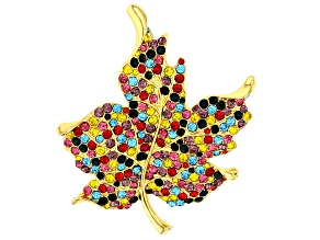 Gold Tone Multi-color Crystal Leaf Brooch