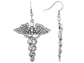 White Crystal Silver Tone Caduceus Earrings