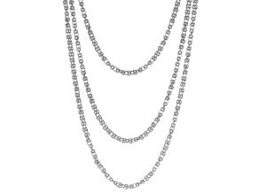 White Crystal Silver Tone Byzantine Three Row Convertible Necklace