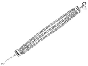 White Crystal Silver Tone Byzantine Three Row Convertible Bracelet