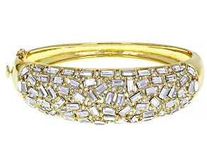Gold Tone Clear Crystal Multi Shape Bangle Bracelet