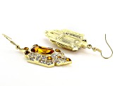 Gold Tone Art Deco Yellow and White Crystal Leaf Earrings