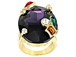 Gold Tone Purple Crystal Statement Ring