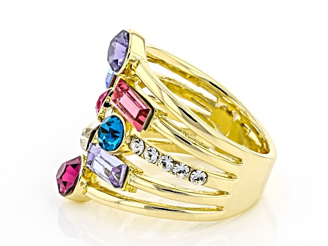 Multi-color Crystal Gold Tone Multi Row Ring