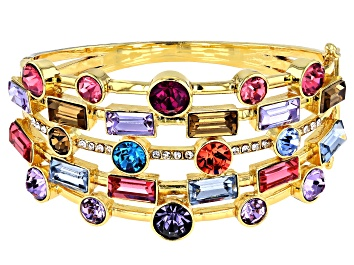 Picture of Round Multi-Color Crystal Gold Tone Cuff
