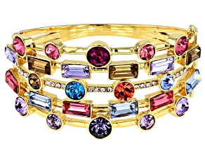 Round Multi-Color Crystal Gold Tone Cuff