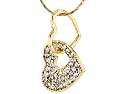 Crystal Shiny Gold Tone Heart Pendant With Chain