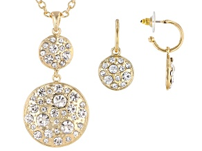 White Crystal Gold Tone Earring And Necklace Set