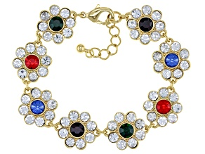 Multi-Color Crystal Gold Tone Bracelet