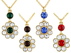 Multi-Color Crystal Gold Tone Necklace set of 4