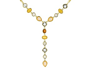 Gold Tone Multi Color Crystal Y Necklace