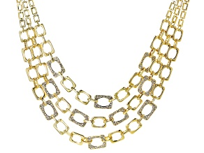 Gold Tone White Crystal Pave Multi Strand Removable Necklace