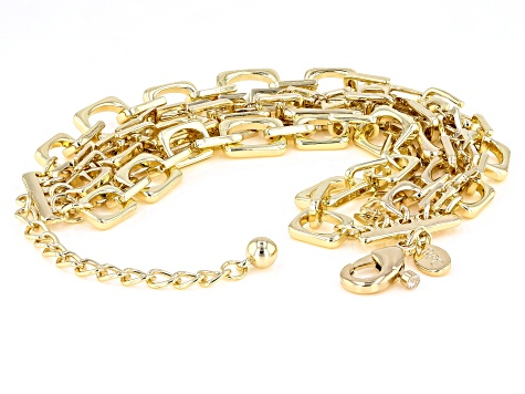 Gold Tone White Crystal Pave Chain Link Design Multi Row Bracelet
