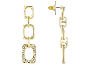 Gold Tone White Crystal Pave Chain Link Design Dangle Earrings