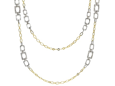 Two Tone Pave White Crystal Chain Link Design Necklace