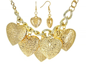 Gold Tone Heart Charm Necklace and Earring Set