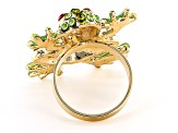 Gold Tone Crystal Frog Ring
