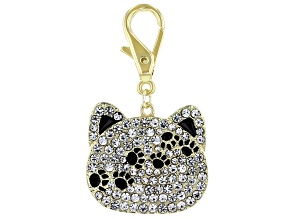 Gold Tone White Crystal Cat Charm