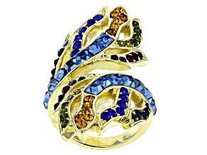 Gold Tone Multi Color Crystal Ring