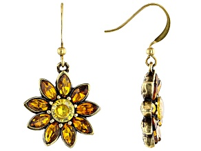 Antiqued Gold Tone Multi Color Crystal Floral Earrings