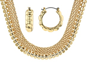 Gold Tone Necklace and Earrings Set