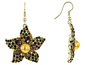 Gold Tone Crystal Flower Earrings