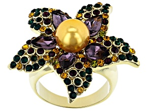 Gold Tone Crystal Flower Ring