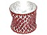Red Crystal Silver Tone Statement Bracelet