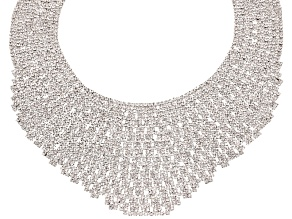 Round White Crystal Silver Tone Statement Necklace