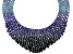 Round Blue Crystal Silver Tone Statement Necklace