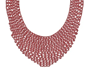 Round Red Crystal Silver Tone Statement Necklace