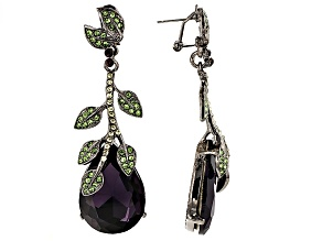 Multicolor Crystal Gunmetal Tone Leaf Drop Earrings