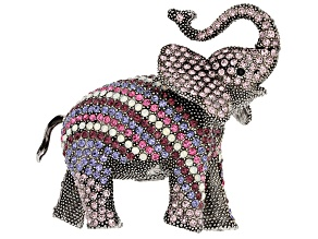 Multicolor Swarovski Elements ™ Antiqued Gunmetal Tone Elephant