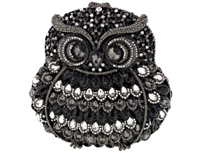 Multicolor Crystal Gunmetal Tone Owl Clutch With Chain