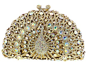 Iridescent Crystal Gold Tone Peacock Clutch With Chain