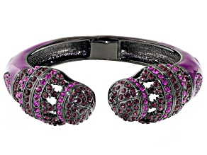 Multicolor Crystal Purple Enamel Gunmetal Tone Bracelet