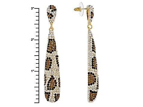 Multicolor Crystal Gold Tone Leopard Print Earrings