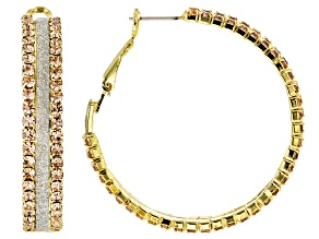 Champagne Crystal Two Tone Hoop Earrings