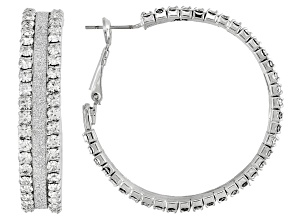 White Crystal Silver Tone Hoop Earrings