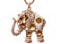 Champagne Swarovski Elements ™ Multi Crystal White Enamel Rose Tone Elephant Pendant With Chain