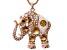 Champagne  Multi Crystal White Enamel Rose Tone Elephant Pendant With Chain