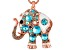 Off Park ® Blue Swarovski Elements ™Multicolor Crystal White Enamel Rose Tone Elephant Pendant