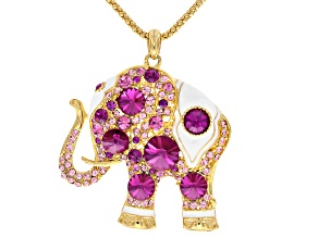 Multicolor Swarovski Elements ™ Pink Crystal White Enamel Gold Tone Elephant Pendant With Chain
